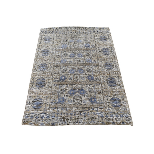 Sampler Silver Silk With Textured wool Mamluk Design Hand knotted Oriental