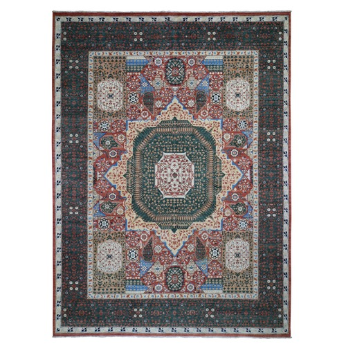 Peshawar with Mamluk Design Hand Knotted Pure Wool Oriental