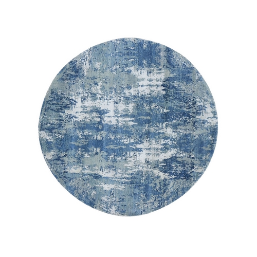 Blue Abstract Design Wool and Pure Silk Hand Knotted Round Oriental