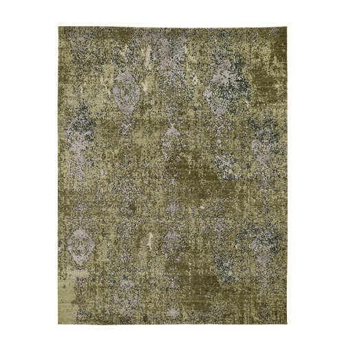 The Greens, Pure Silk With Textured Wool Hand Knotted Oriental