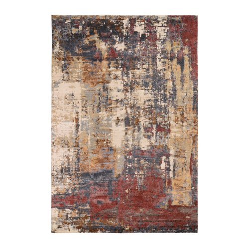 Wool and Silk Hi-Low Pile Modern Abstract Design Hand Knotted Oriental