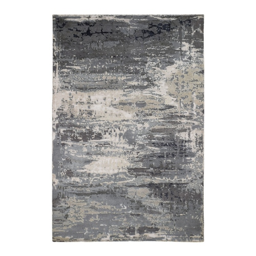 Gray Abstract Design Wool & Silk Hi-Lo Pile Hand Knotted Oriental