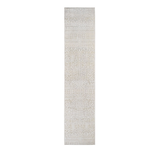 Hand knotted Tone on Tone Pure Silk with Textured Wool Runner Oriental