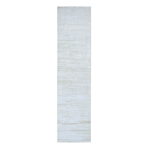 Silk with Textured Wool Tone on Tone Gabbeh Design Hi-Lo Pile Oriental Runner