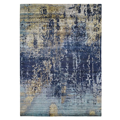 Mosaic Design Blue Wool and Silk Hand Knotted Oriental Rug