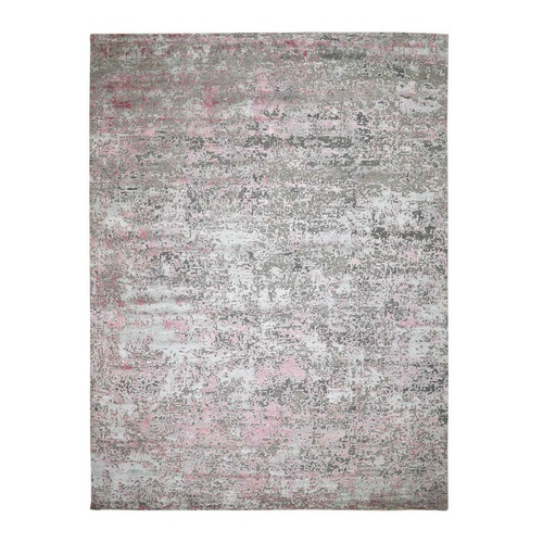 Pink Hi-Low Pile Abstract Design Wool And Silk Hand Knotted Oriental