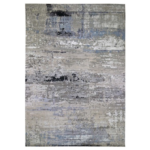 Oversized Gray Hi low Pile Abstract Design Wool And Silk Hand Knotted Oriental