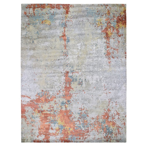 Oversized Wool And Silk Abstract With Fire Mosaic Design Hand Knotted Oriental Rug