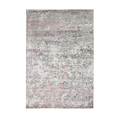 Pink Hi-Lo Pile Abstract Design Wool And Silk Hand Knotted Oriental