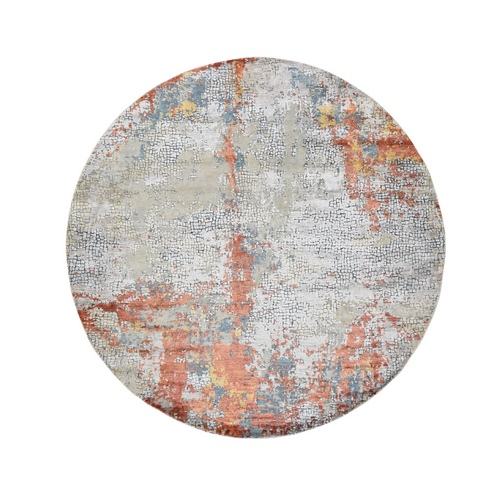 Round Wool And Silk Abstract With Fire Mosaic Design Hand Knotted Oriental Rug