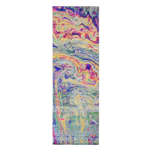 Colorful Sari Silk With Textured Wool The Lava Design Runner Hand Knotted Oriental Rug