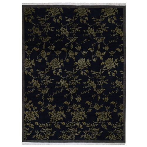 On Clearance Black Modern Tibetan Pure Wool Botanical Design Hand Knotted Oriental