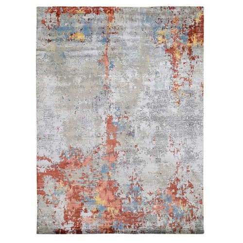 Wool And Silk Abstract With Fire Mosaic Design Hand Knotted Oriental Rug