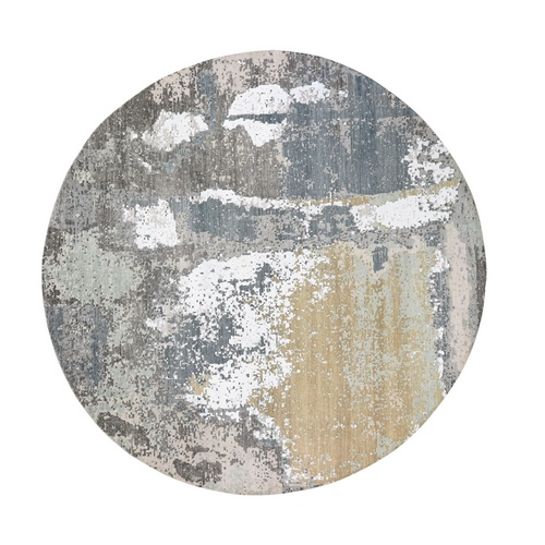Gray Round Abstract Design Wool and Silk Hi-Low Pile Denser Weave Hand Knotted Oriental