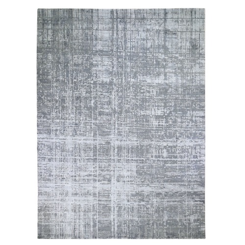 Gray Wool And Silk Abstract Design Hand knotted Oriental