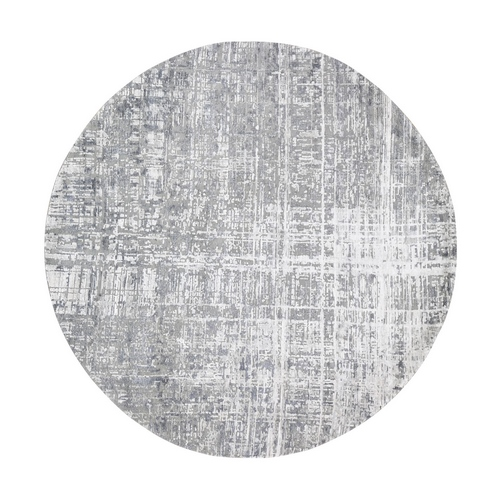 Round Gray Wool And Silk Abstract Design Hand knotted Oriental