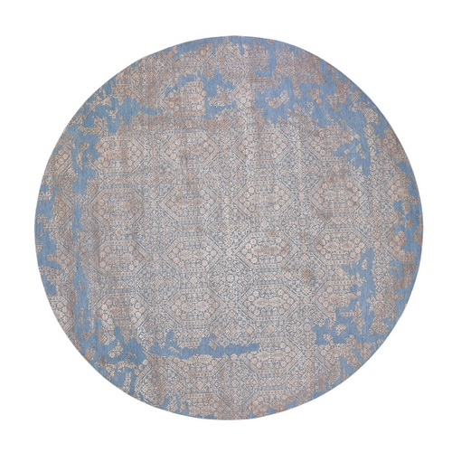 Blue Round Transitional Erased Design Wool And Silk Hand Knotted Oriental