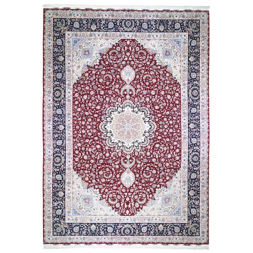 Red Oversized New Persian Tabriz 400 KPSI Double Signature Hand Knotted Oriental Rug