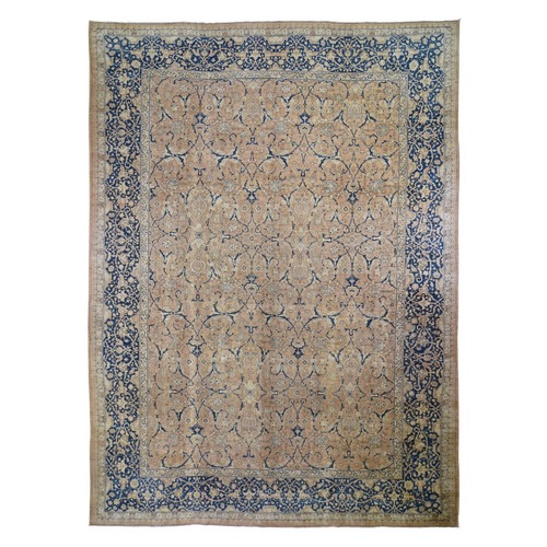 Antique Persian Tabriz All Over Arabesque Motifs Hand Knotted Oriental