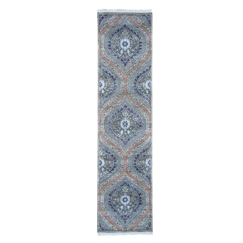 Mughal Design Pure Silk With Textured Wool Runner Hand Knotted Oriental