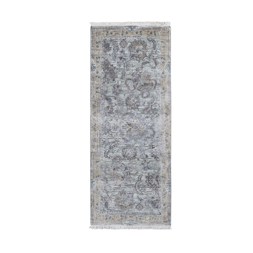 Light Green Pure Silk With Textured Wool Mughal Design Runner Hand Knotted Oriental