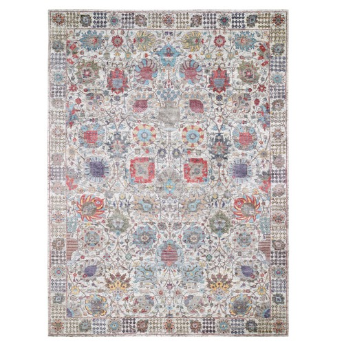Ivory Silk With Textured Wool Tabriz Hand Knotted Oriental Rug