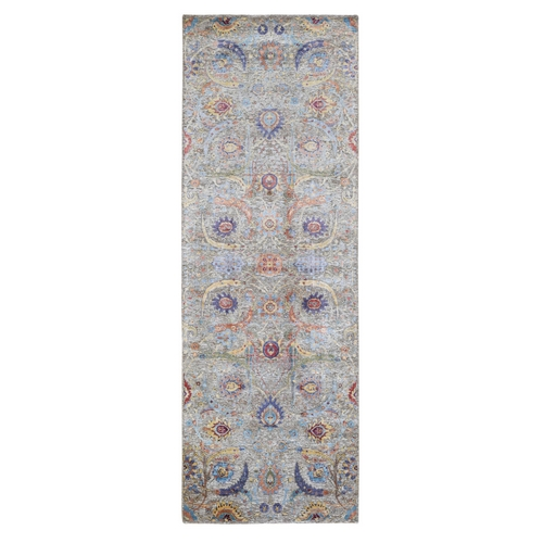 Sickle Leaf Design Silk With Textured Wool Wide Runner Hand Knotted Oriental