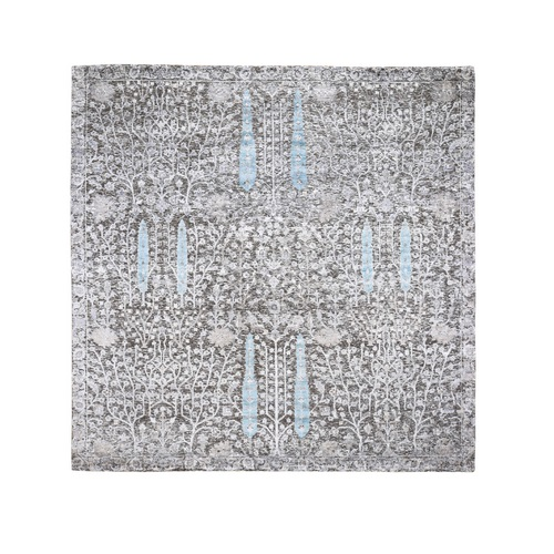 Square Cypress Tree Design Silk with Textured Wool Hand Knotted Oriental Rug