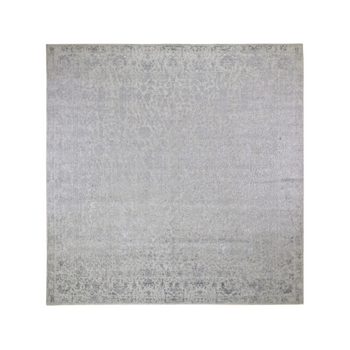 Square jacquard Hand Loomed Gray Broken Cypress Tree Design Wool And Silk Thick And Plush Oriental