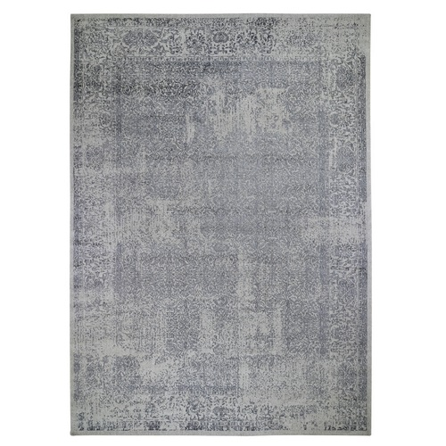 Fine jacquard Hand Loomed Erased Design Wool And Silk Oriental