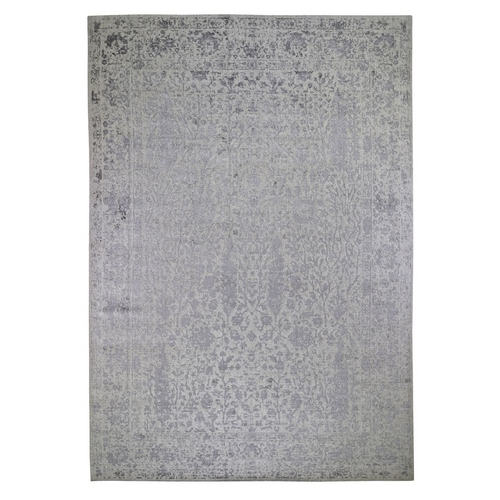 jacquard Hand Loomed Gray Broken Cypress Tree Design Wool And Silk Thick And Plush Oriental
