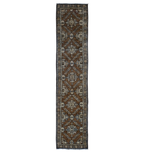 Brown Antique Persian Heriz With Soft Natural Colors Narrow Runner Hand Knotted Oriental
