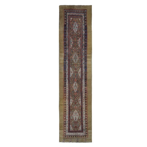 Brown Antique Persian Serab Runner Camel Hair Full Pile Runner Hand Knotted Oriental