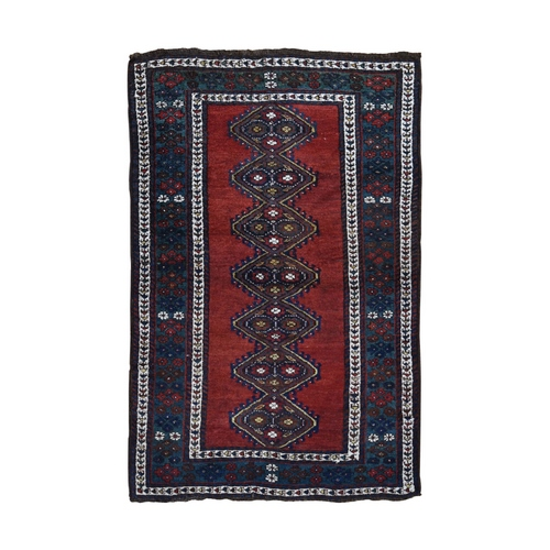 Red Antique Caucasian Talesh Full Pile Hand Knotted Oriental