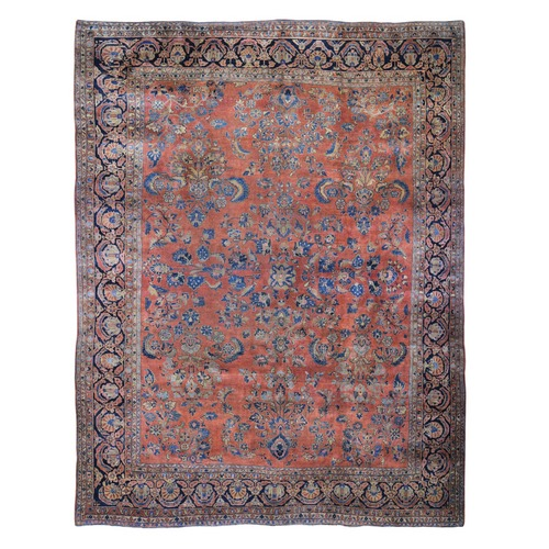 Red Antique Persian Sarouk Even Wear Clean And Soft Hand Knotted Oriental Rug