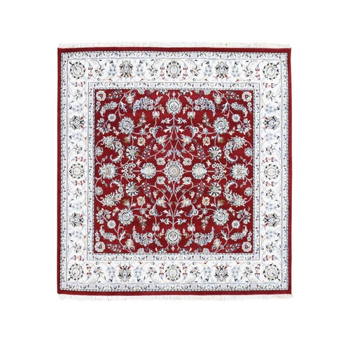 Red Square Nain Wool And Silk All Over Design 250 KPSI Hand Knotted Oriental Rug