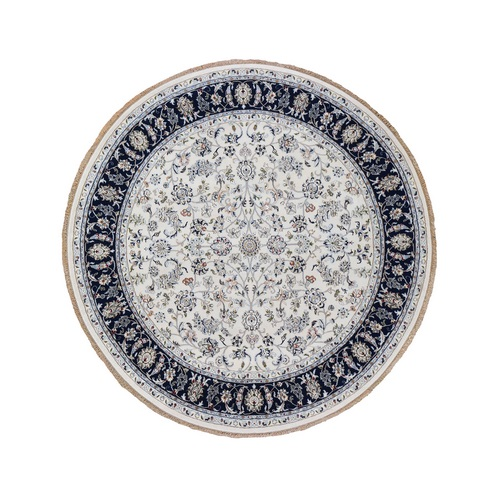 Ivory Nain Wool And Silk 250 KPSI All Over Design Hand Knotted Round Oriental