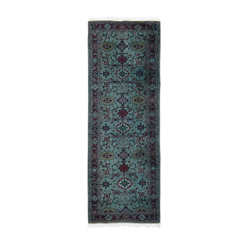 Light Green Indo Mahal Runner Pure Wool Hand Knotted Oriental Rug