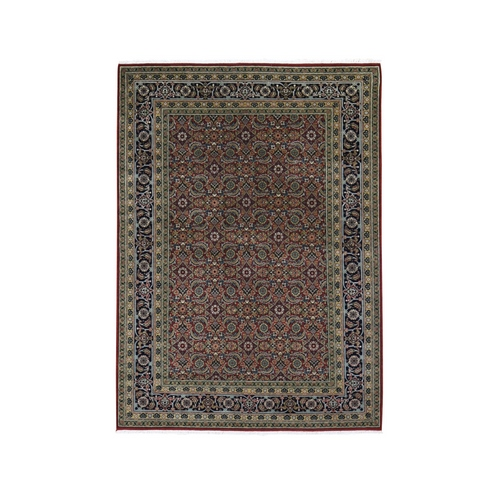 Herati Fish Design 175 KPSI Hand Knotted Wool And Silk Oriental Rug