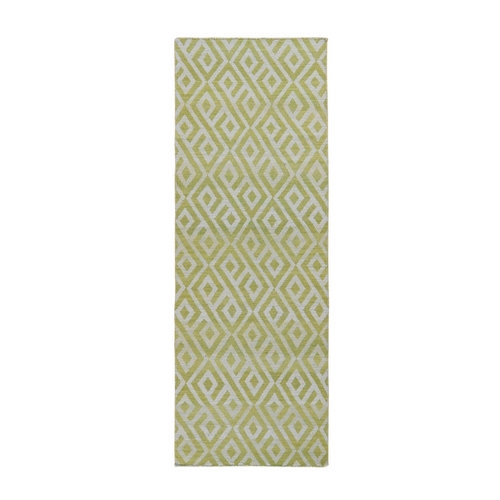 Light Green Reversible Runner Hand Woven Killim Flat Weave Rug