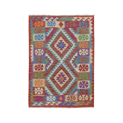 Colorful Afghan Kilim Pure Wool Hand Woven Oriental Rug