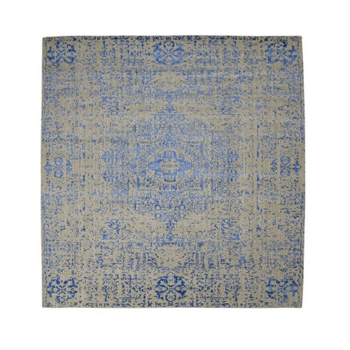 Gray Hand Loomed Wool And Art Silk Mamluk Design Square Oriental