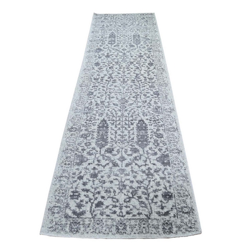 Jacquard Hand-Loomed Gray Broken Cypress Tree Design Silken Thick And Plush Runner Oriental