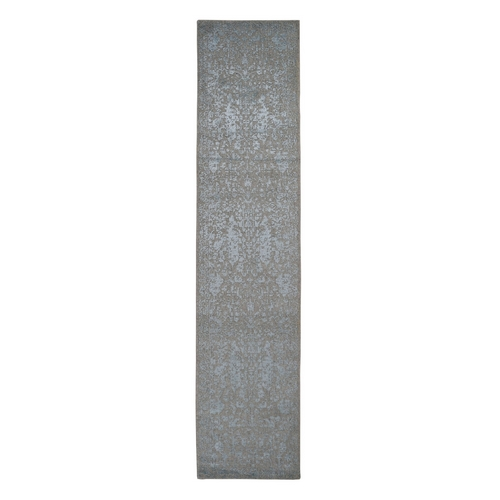 Gray Jacquard Hand Loomed Wool And Art Silk Heriz Design Runner Oriental