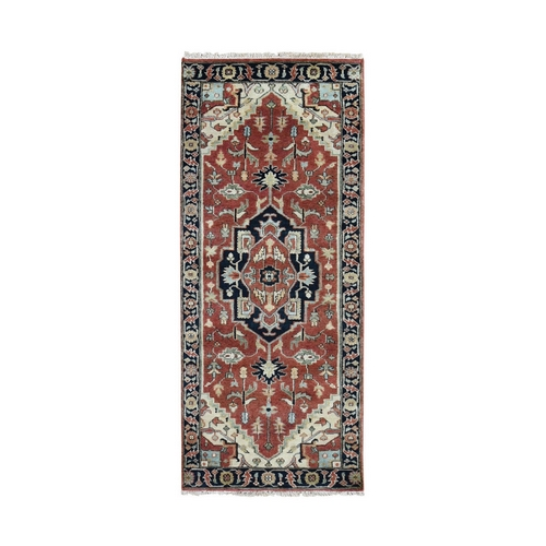 Red Heriz Revival Pure Wool Hand Knotted Runner Oriental
