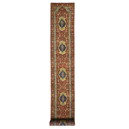 Red Antiqued Heriz Pure Wool XL Runner Hand Knotted Oriental
