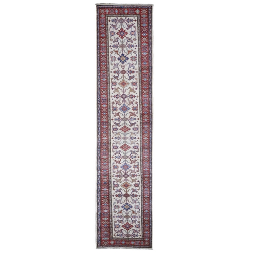 Ivory Super Kazak Pure Wool Geometric Design Runner Hand Knotted Oriental Rug