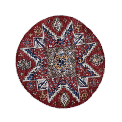 Red Round Super Kazak Star Design Hand Knotted Pure Wool Oriental