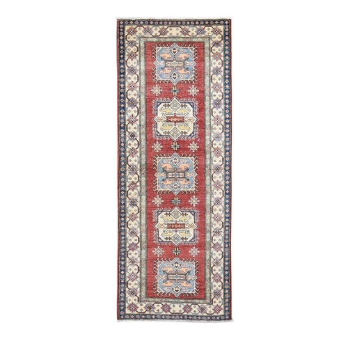 Red Super Kazak Pure Wool Geometric Design Runner Hand Knotted Oriental Rug