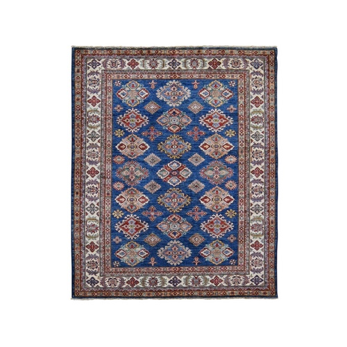Navy Blue Super Kazak Tribal Design Hand Knotted Pure Wool Oriental Rug